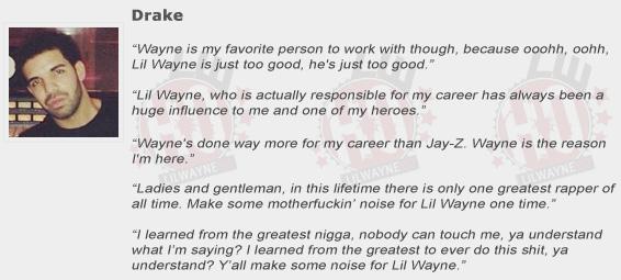 Drake Compliments Lil Wayne