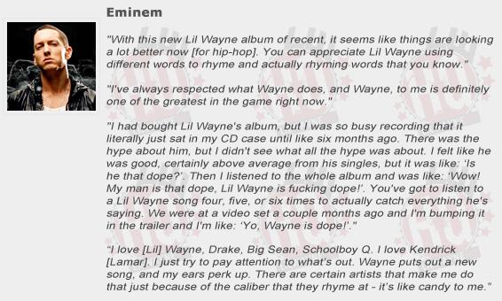 Eminem Compliments Lil Wayne
