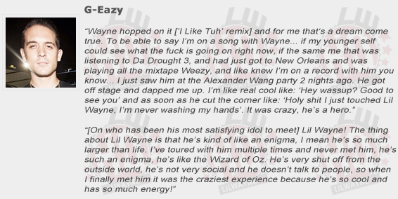G-Eazy Compliments Lil Wayne