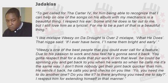 Jadakiss Compliments Lil Wayne