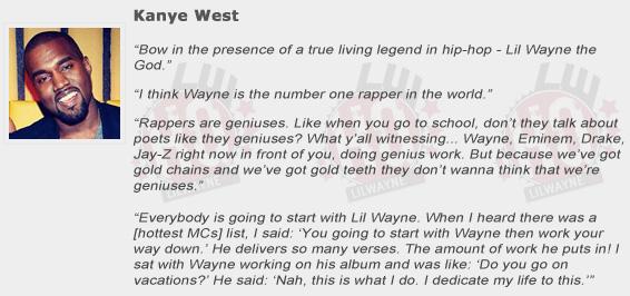 Kanye West Compliments Lil Wayne