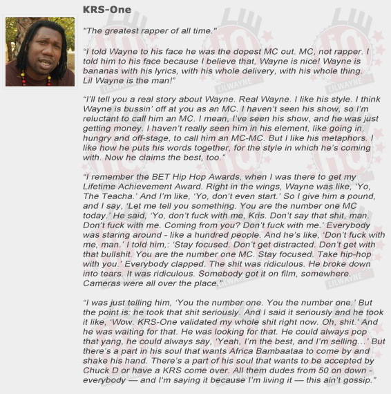 KRS-One Compliments Lil Wayne