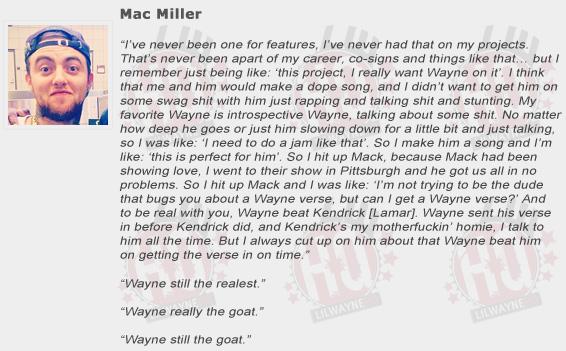 Mac Miller Compliments Lil Wayne