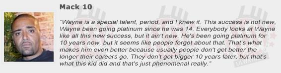 Mack 10 Compliments Lil Wayne