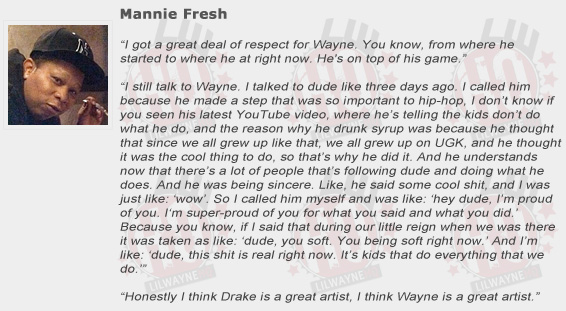 Mannie Fresh Compliments Lil Wayne