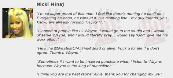 Nicki Minaj Compliments Lil Wayne
