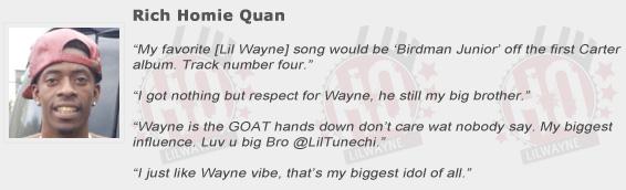 Rich Homie Quan Compliments Lil Wayne