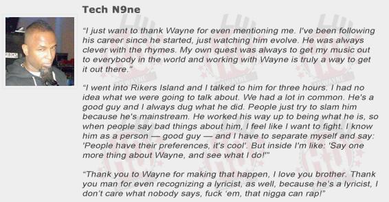 Tech N9ne Compliments Lil Wayne