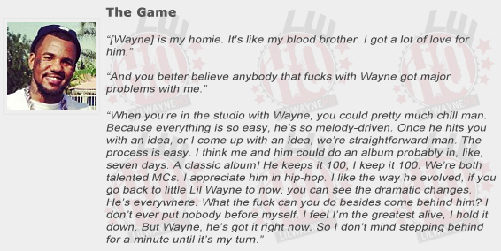 The Game Compliments Lil Wayne