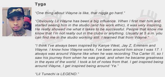 Tyga Compliments Lil Wayne