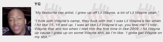 YG Compliments Lil Wayne