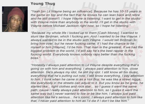 Young Thug Compliments Lil Wayne