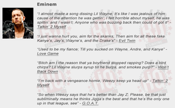 Eminem Shouts Out Lil Wayne