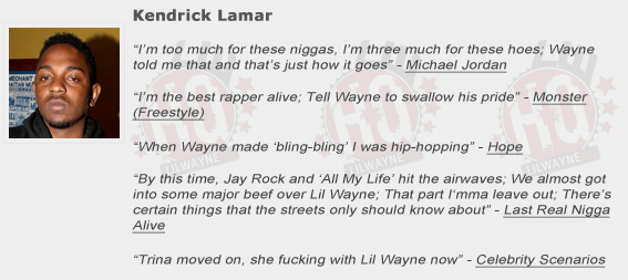 Kendrick Lamar Shouts Out Lil Wayne