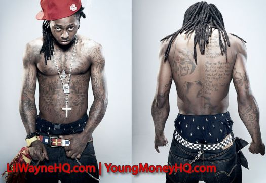 You can see lots more Weezy tattoos in this picture including a map of
