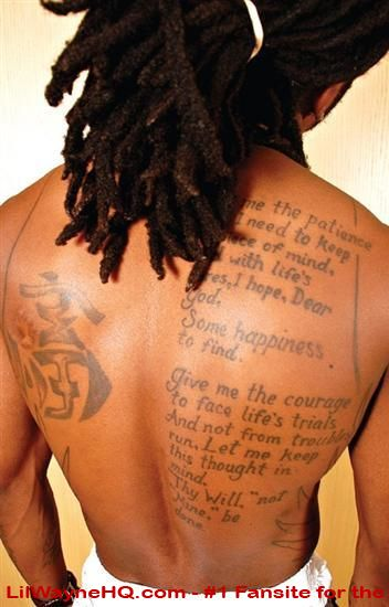 Lil Wayne Back Tattoo The prayer on Lil Wayne's back.